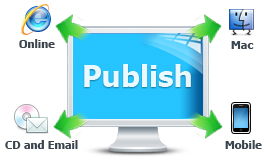 Publish online, or for CD, DVD, Email